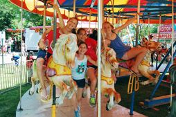 Girls on a carousel